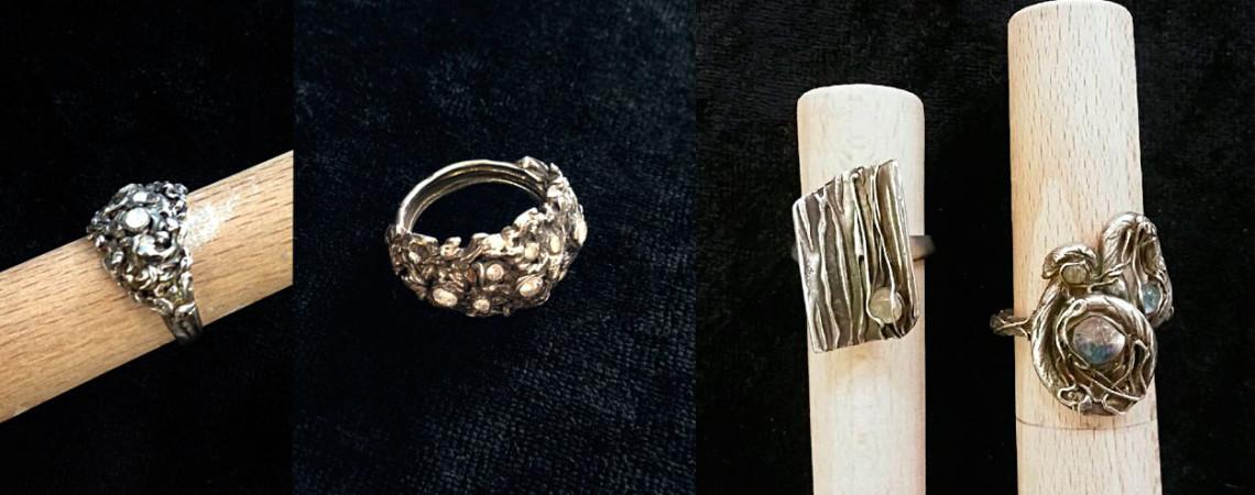Valik kursusel valminud sõrmuseid